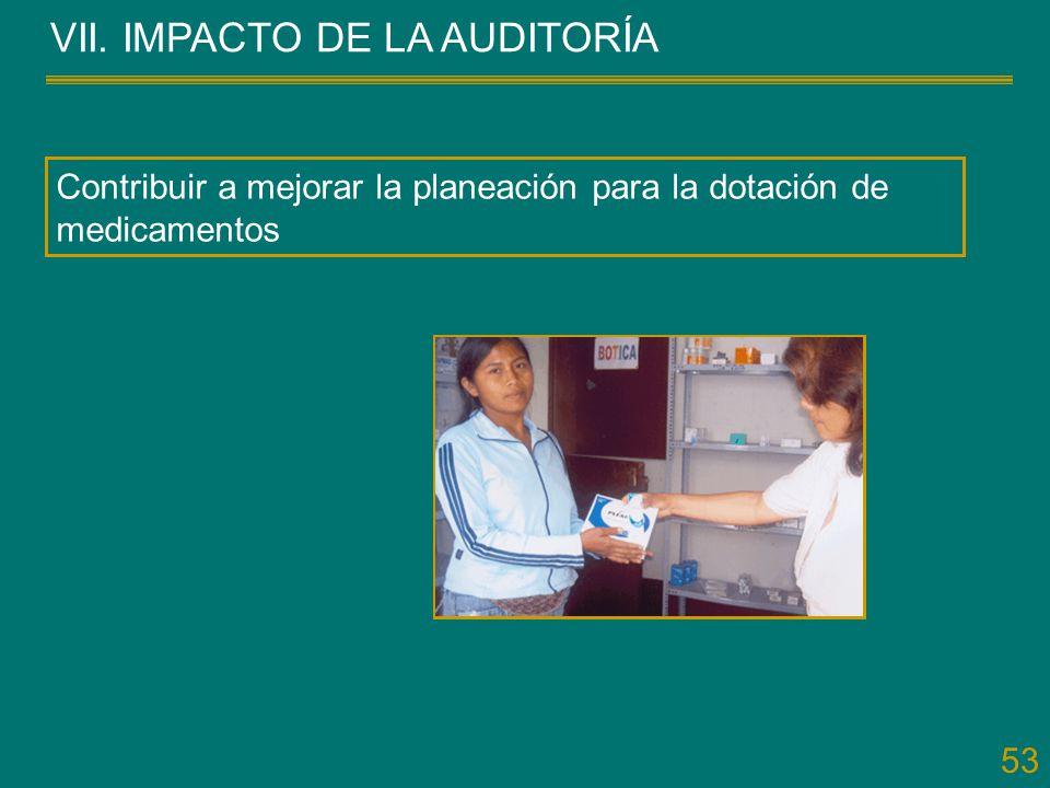 53 VII. IMPACTO DE LA AUDITORÍA Contribuir a mejorar la planeación para la dotación de medicamentos