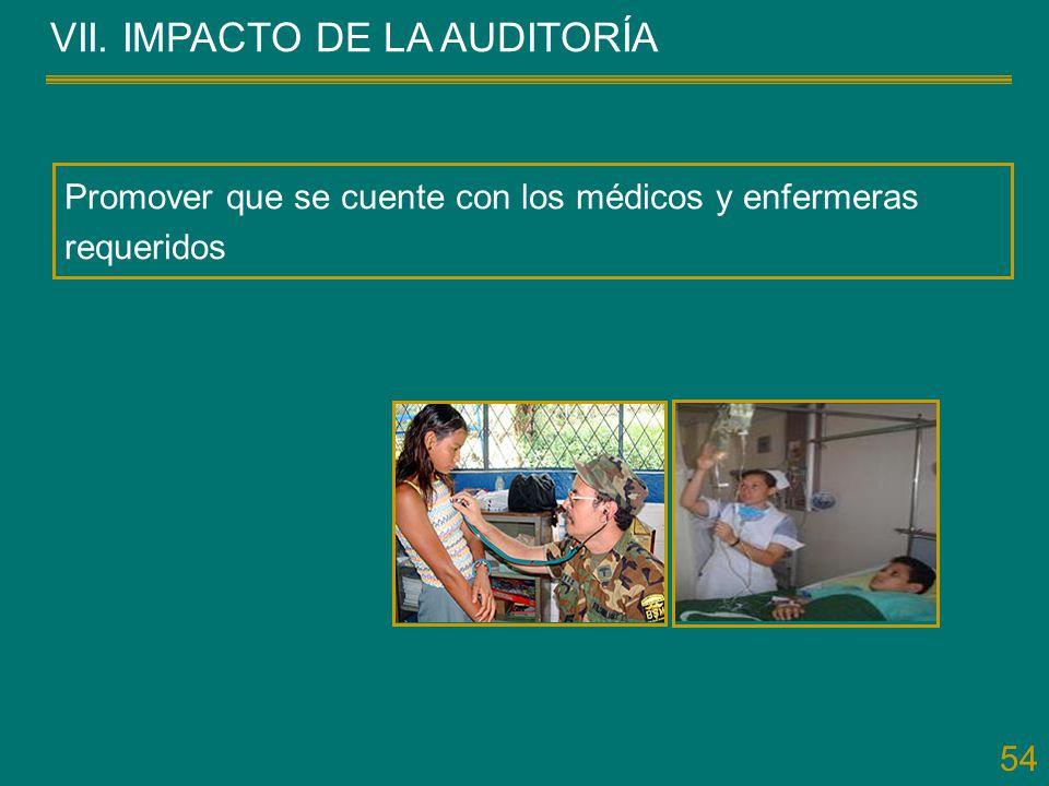54 VII. IMPACTO DE LA AUDITORÍA Promover que se cuente con los médicos y enfermeras requeridos