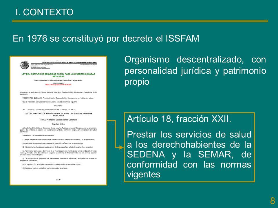 8 I. CONTEXTO En 1976 se constituyó por decreto el ISSFAM Artículo 18, fracción XXII. Prestar los servicios de salud a los derechohabientes de la SEDE
