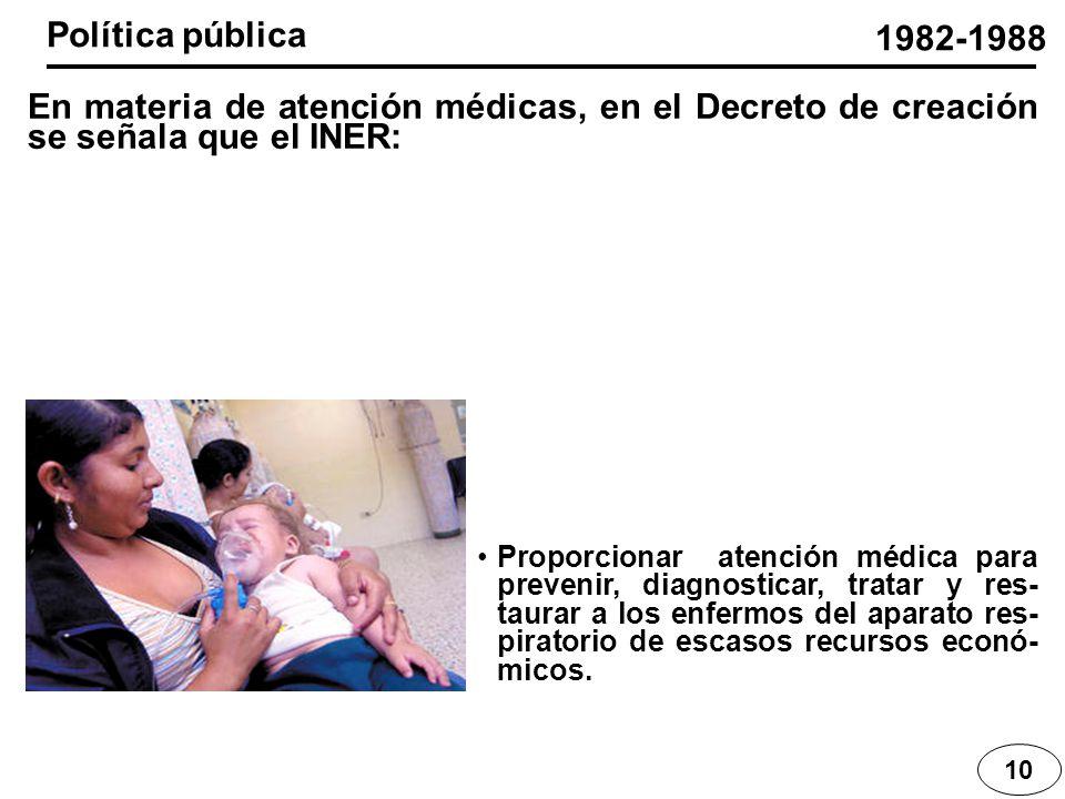 10 En materia de atención médicas, en el Decreto de creación se señala que el INER: 1982-1988 Proporcionar atención médica para prevenir, diagnosticar