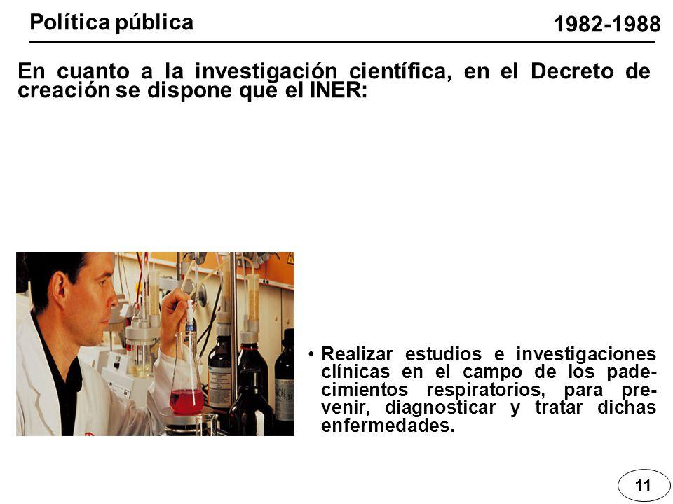 11 1982-1988 Realizar estudios e investigaciones clínicas en el campo de los pade- cimientos respiratorios, para pre- venir, diagnosticar y tratar dic