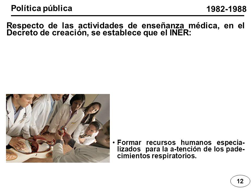 12 Respecto de las actividades de enseñanza médica, en el Decreto de creación, se establece que el INER: 1982-1988 Formar recursos humanos especia- li