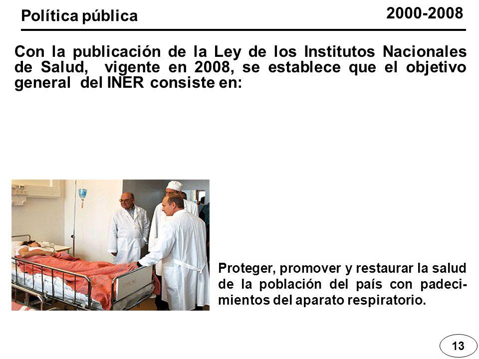 13 2000-2008 Proteger, promover y restaurar la salud de la población del país con padeci- mientos del aparato respiratorio. Con la publicación de la L