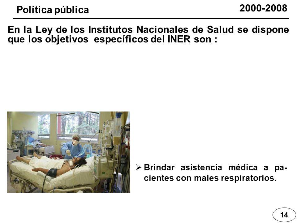 Brindar asistencia médica a pa- cientes con males respiratorios. 14 Política pública En la Ley de los Institutos Nacionales de Salud se dispone que lo