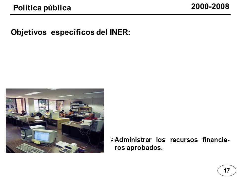 Administrar los recursos financie- ros aprobados. 17 Política pública Objetivos específicos del INER: 2000-2008