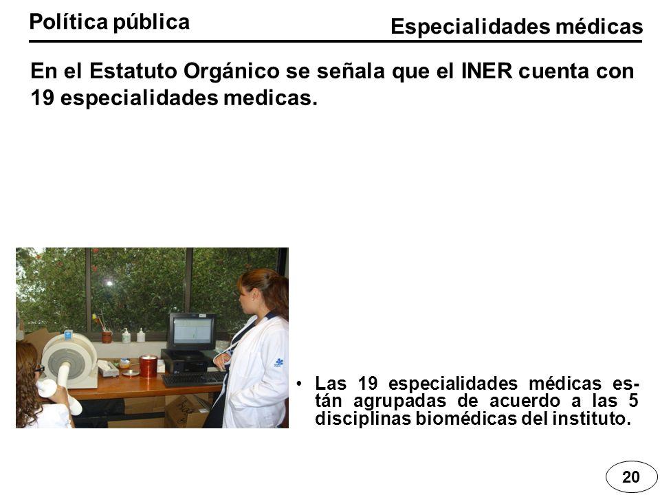 Especialidades médicas Política pública 20 En el Estatuto Orgánico se señala que el INER cuenta con 19 especialidades medicas. Las 19 especialidades m