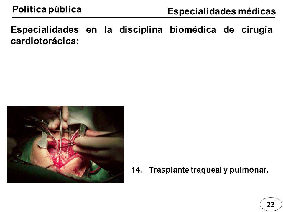 Especialidades médicas Política pública 22 Especialidades en la disciplina biomédica de cirugía cardiotorácica: 14. Trasplante traqueal y pulmonar.