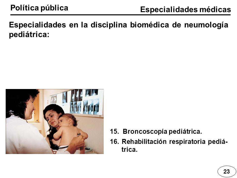 Especialidades médicas Política pública 23 Especialidades en la disciplina biomédica de neumología pediátrica: 15. Broncoscopía pediátrica. 16. Rehabi