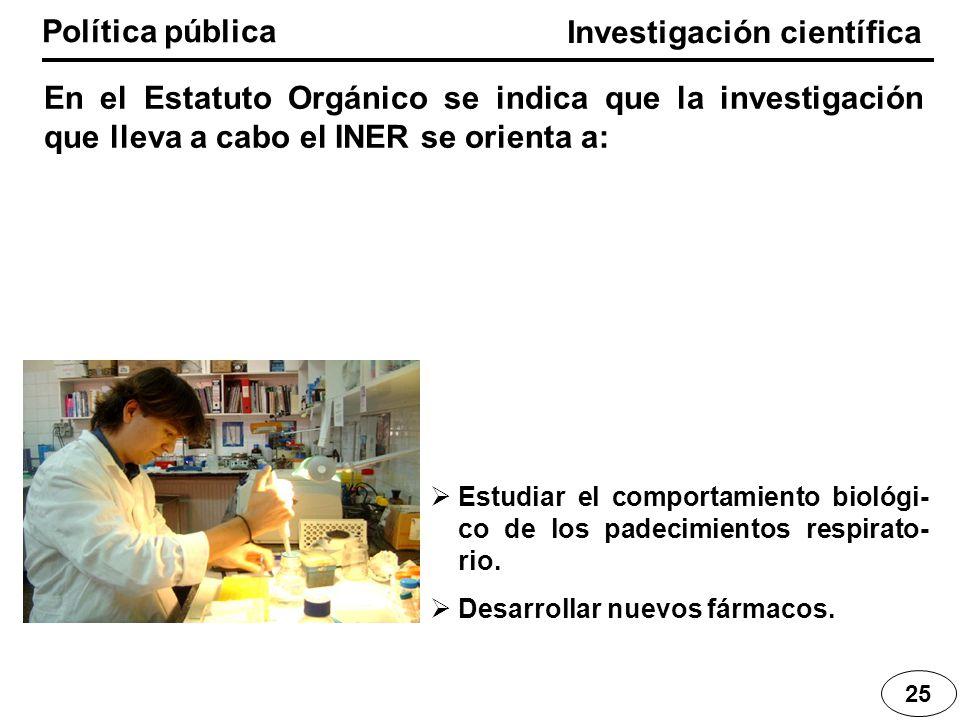 Investigación científica Política pública En el Estatuto Orgánico se indica que la investigación que lleva a cabo el INER se orienta a: 25 Estudiar el