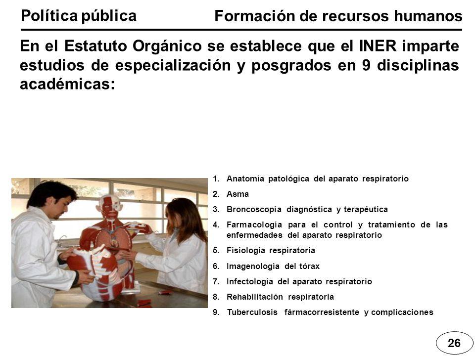 Formación de recursos humanos Política pública 26 En el Estatuto Orgánico se establece que el INER imparte estudios de especialización y posgrados en