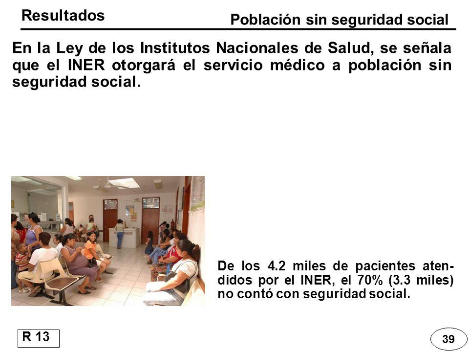 39 En la Ley de los Institutos Nacionales de Salud, se señala que el INER otorgará el servicio médico a población sin seguridad social. Resultados De
