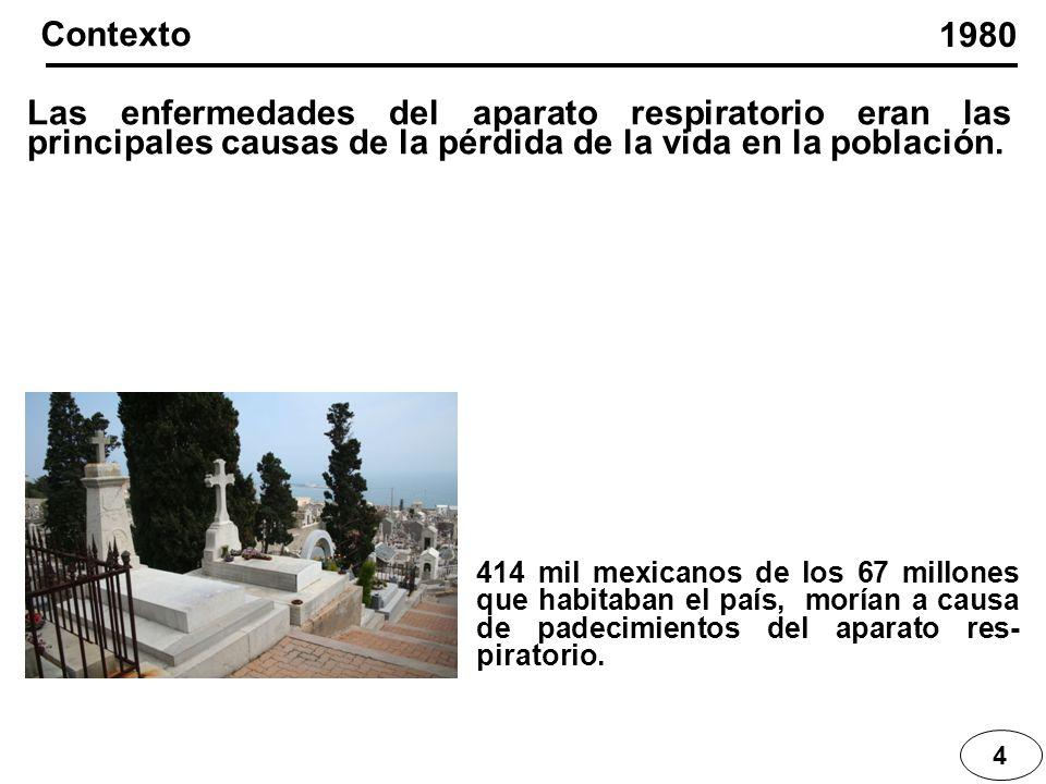 4 Las enfermedades del aparato respiratorio eran las principales causas de la pérdida de la vida en la población. 1980 Contexto 414 mil mexicanos de l