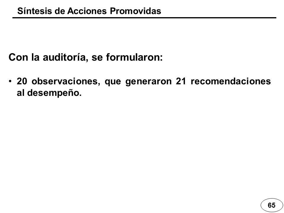 65 Síntesis de Acciones Promovidas Con la auditoría, se formularon: 20 observaciones, que generaron 21 recomendaciones al desempeño.