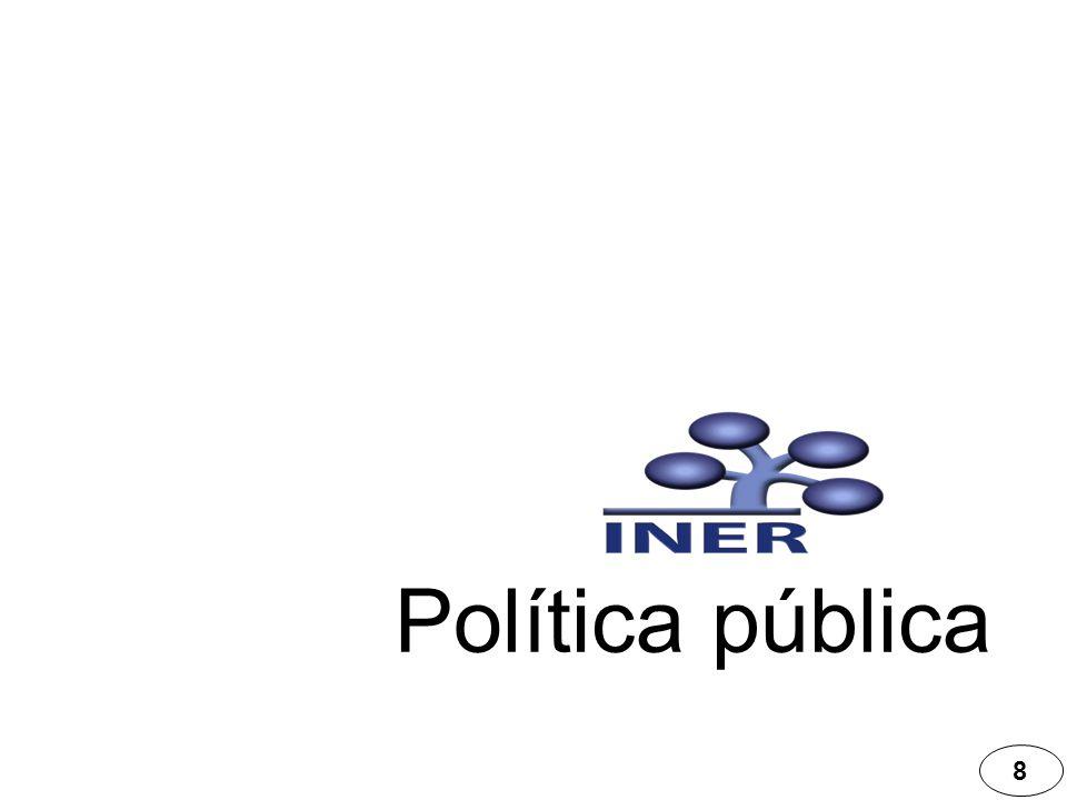 Recursos humanos Política pública 29 Conforme a la plantilla de personal autorizada, de los 348 médicos, el 67% se dedica a la asistencia médica en el INER.