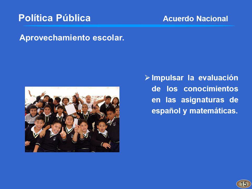 Aprovechamiento escolar. Política Pública Acuerdo Nacional 15 Impulsar la evaluación de los conocimientos en las asignaturas de español y matemáticas.