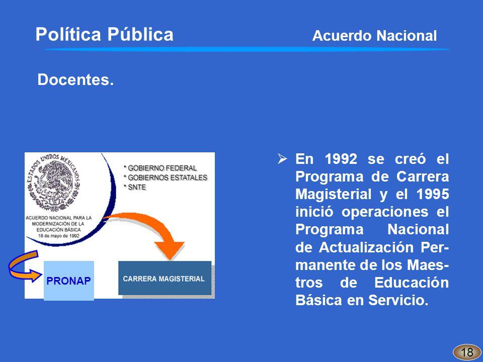 En 1992 se creó el Programa de Carrera Magisterial y el 1995 inició operaciones el Programa Nacional de Actualización Per- manente de los Maes- tros d