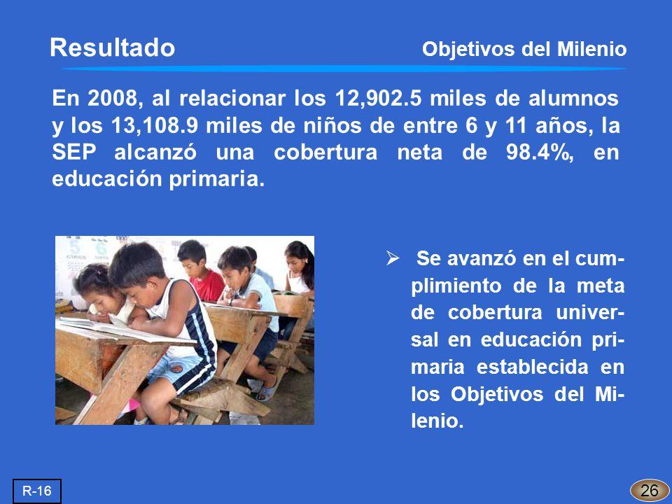 En 2008, al relacionar los 12,902.5 miles de alumnos y los 13,108.9 miles de niños de entre 6 y 11 años, la SEP alcanzó una cobertura neta de 98.4%, e