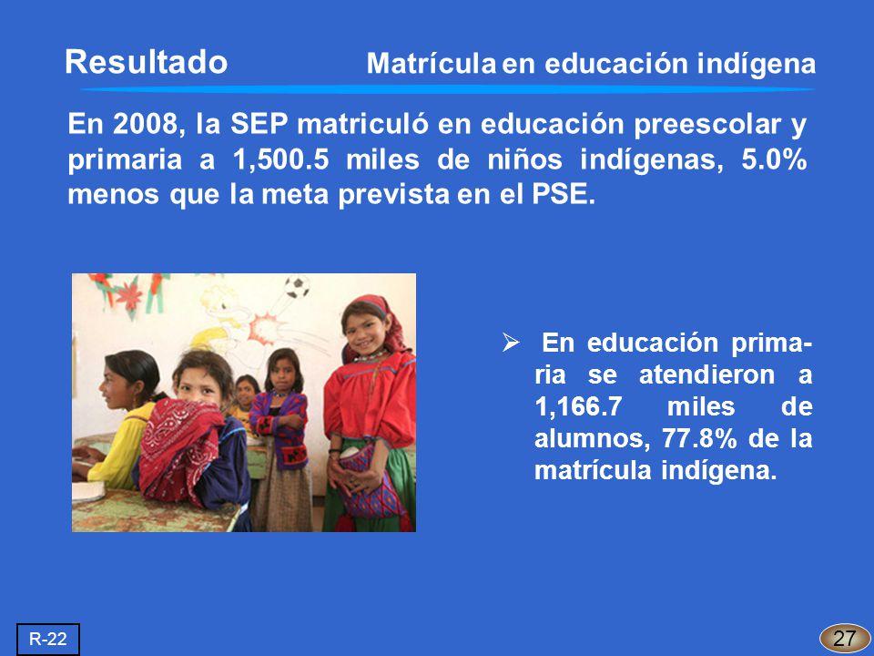 En 2008, la SEP matriculó en educación preescolar y primaria a 1,500.5 miles de niños indígenas, 5.0% menos que la meta prevista en el PSE. 27 R-22 En