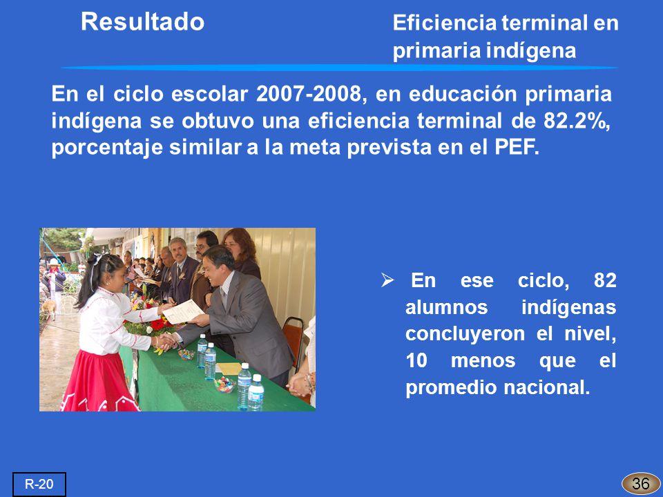 En el ciclo escolar 2007-2008, en educación primaria indígena se obtuvo una eficiencia terminal de 82.2%, porcentaje similar a la meta prevista en el