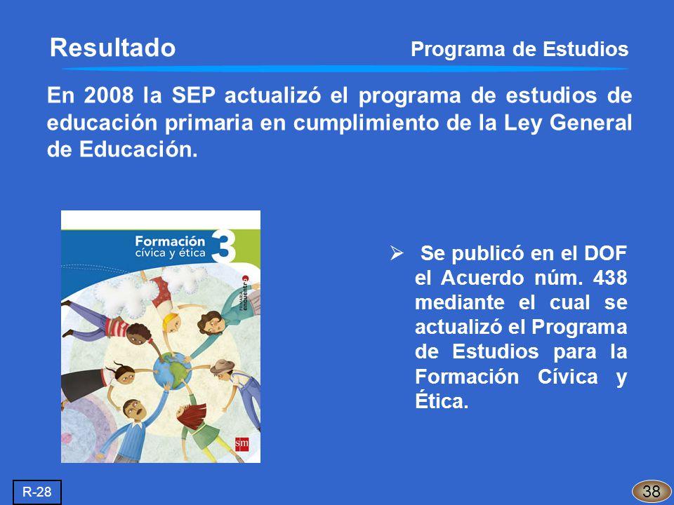 En 2008 la SEP actualizó el programa de estudios de educación primaria en cumplimiento de la Ley General de Educación. Resultado Programa de Estudios
