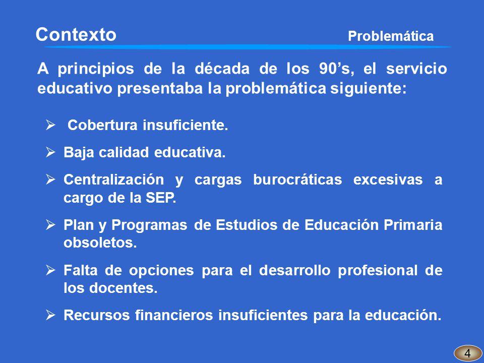 Contexto Problemática A principios de la década de los 90s, el servicio educativo presentaba la problemática siguiente: 4 Cobertura insuficiente. Baja