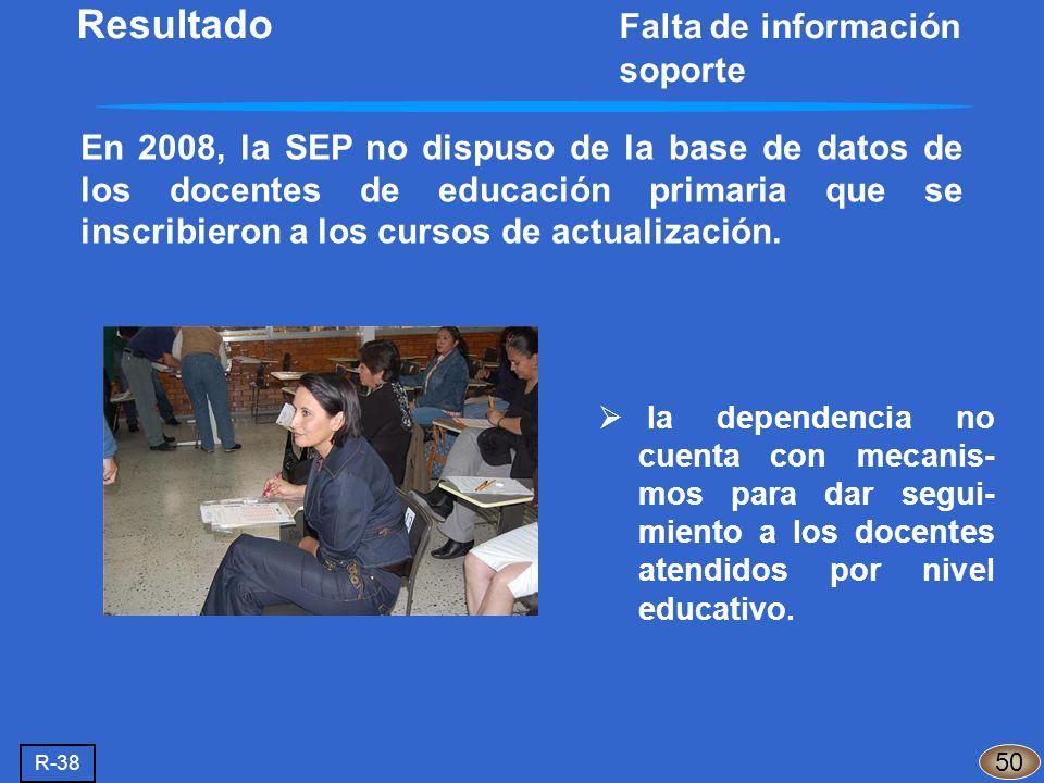 En 2008, la SEP no dispuso de la base de datos de los docentes de educación primaria que se inscribieron a los cursos de actualización. 50 la dependen