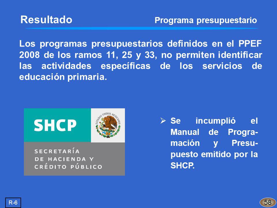 Los programas presupuestarios definidos en el PPEF 2008 de los ramos 11, 25 y 33, no permiten identificar las actividades específicas de los servicios