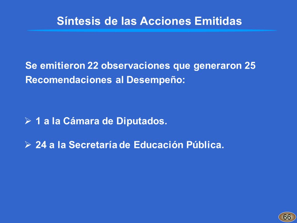 Síntesis de las Acciones Emitidas Se emitieron 22 observaciones que generaron 25 Recomendaciones al Desempeño: 1 a la Cámara de Diputados. 24 a la Sec