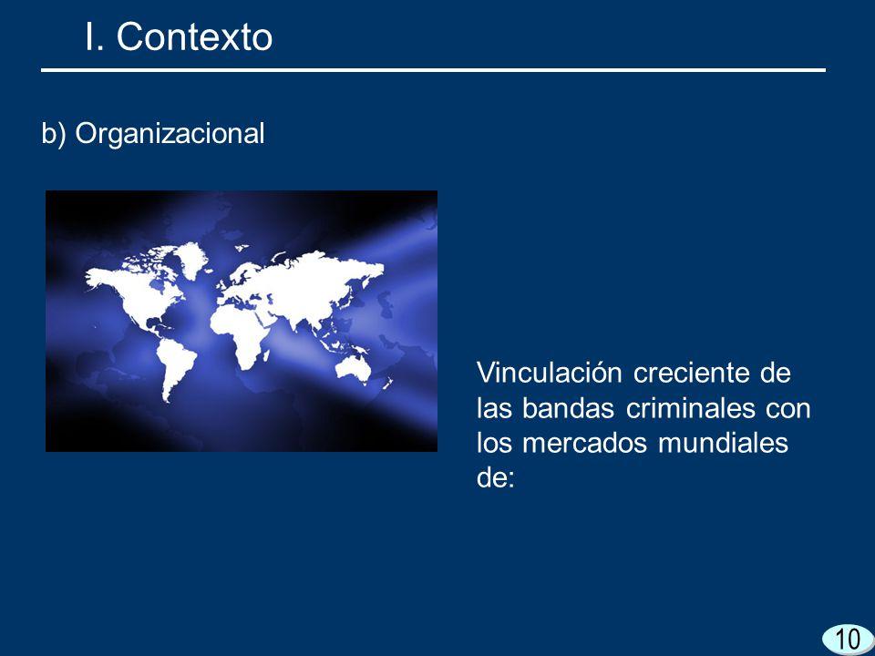 10 Vinculación creciente de las bandas criminales con los mercados mundiales de: I. Contexto b) Organizacional