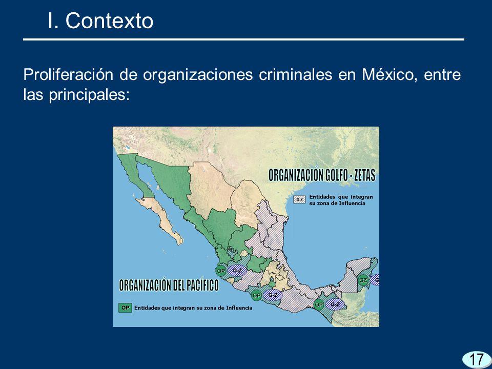 17 I. Contexto Proliferación de organizaciones criminales en México, entre las principales: