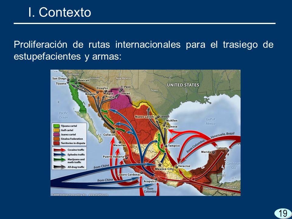 19 I. Contexto Proliferación de rutas internacionales para el trasiego de estupefacientes y armas:
