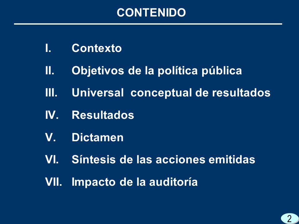 2 CONTENIDO 2 2 I.Contexto II.Objetivos de la política pública III.Universal conceptual de resultados IV.Resultados V.Dictamen VI.Síntesis de las acciones emitidas VII.Impacto de la auditoría