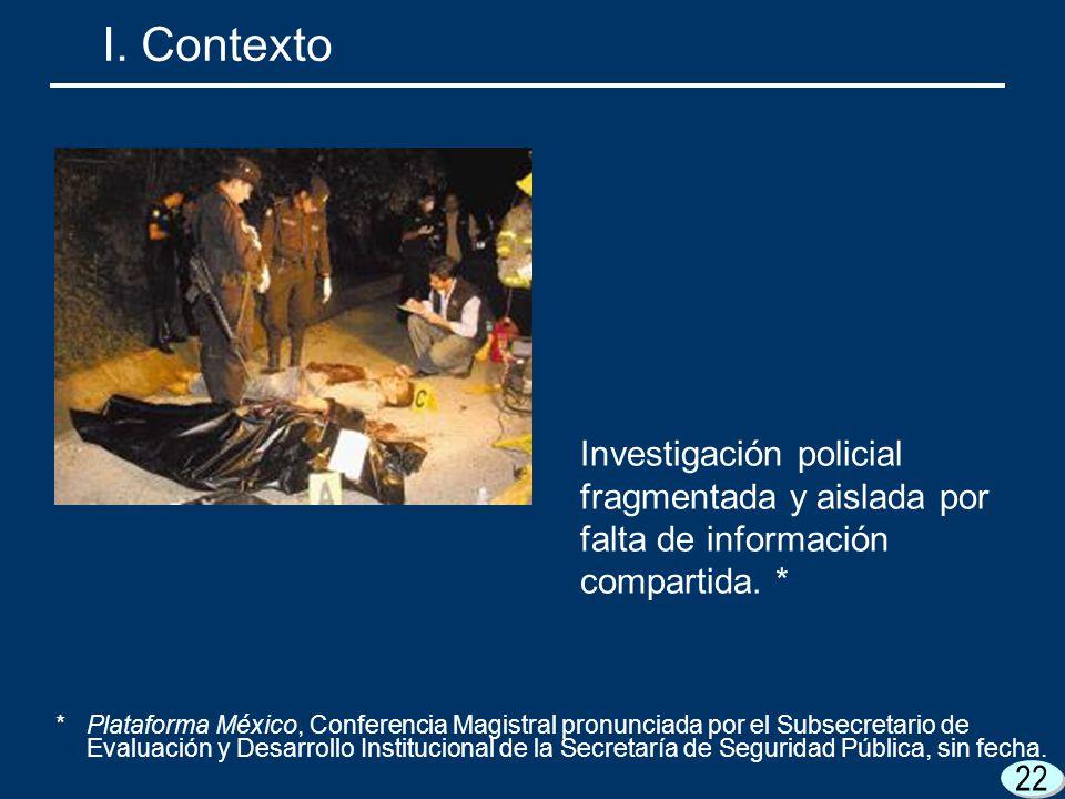 22 I. Contexto Investigación policial fragmentada y aislada por falta de información compartida. * *Plataforma México, Conferencia Magistral pronuncia