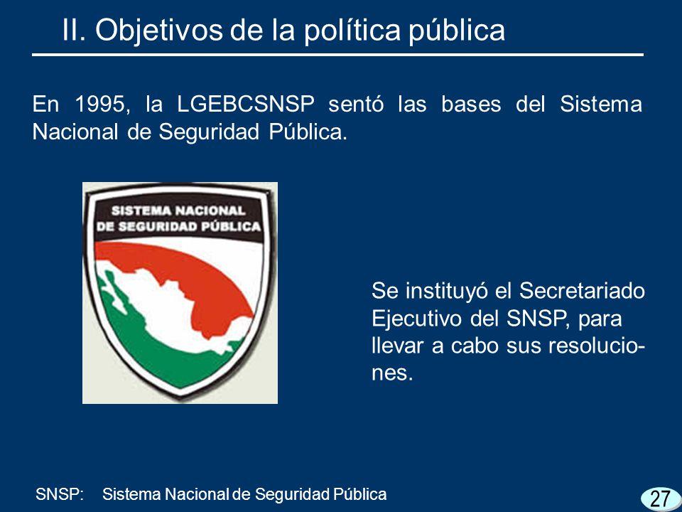 27 Se instituyó el Secretariado Ejecutivo del SNSP, para llevar a cabo sus resolucio- nes. II. Objetivos de la política pública SNSP:Sistema Nacional