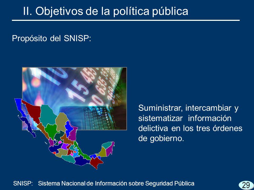 29 Suministrar, intercambiar y sistematizar información delictiva en los tres órdenes de gobierno. II. Objetivos de la política pública Propósito del