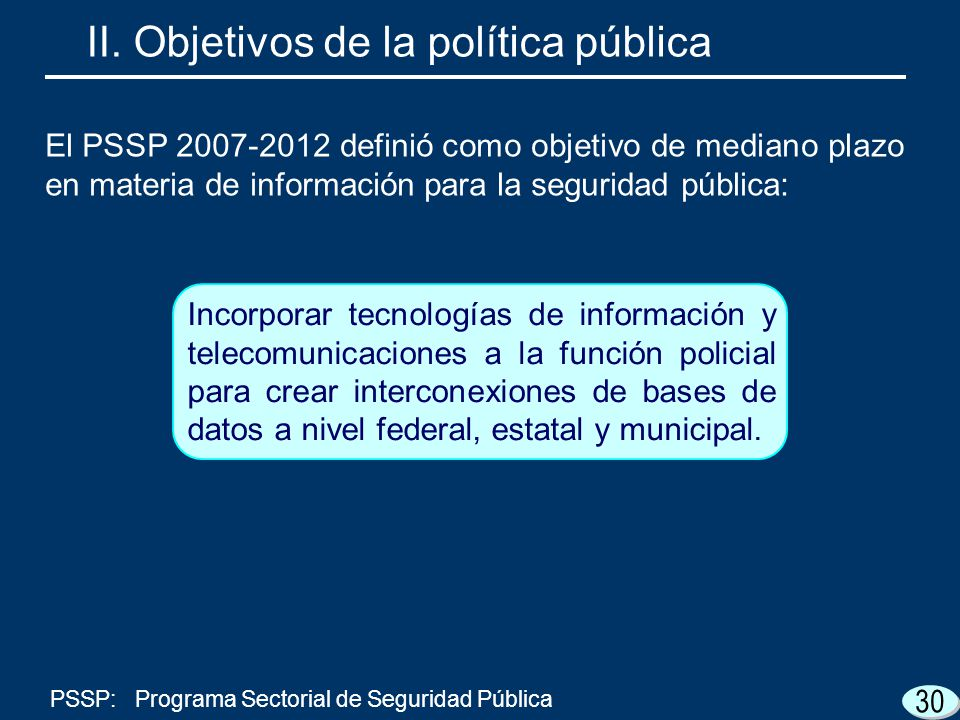 Incorporar tecnologías de información y telecomunicaciones a la función policial para crear interconexiones de bases de datos a nivel federal, estatal y municipal.
