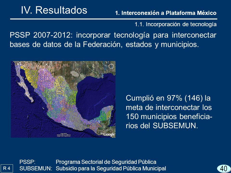 40 IV. Resultados R 4 PSSP 2007-2012: incorporar tecnología para interconectar bases de datos de la Federación, estados y municipios. Cumplió en 97% (