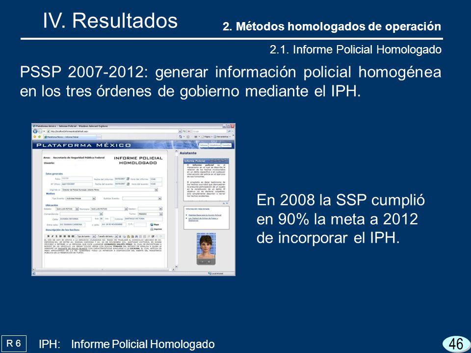 46 IV. Resultados R 6 PSSP 2007-2012: generar información policial homogénea en los tres órdenes de gobierno mediante el IPH. 2. Métodos homologados d