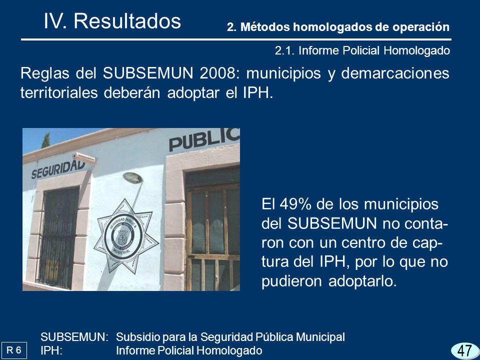 47 IV. Resultados R 6 El 49% de los municipios del SUBSEMUN no conta- ron con un centro de cap- tura del IPH, por lo que no pudieron adoptarlo. Reglas
