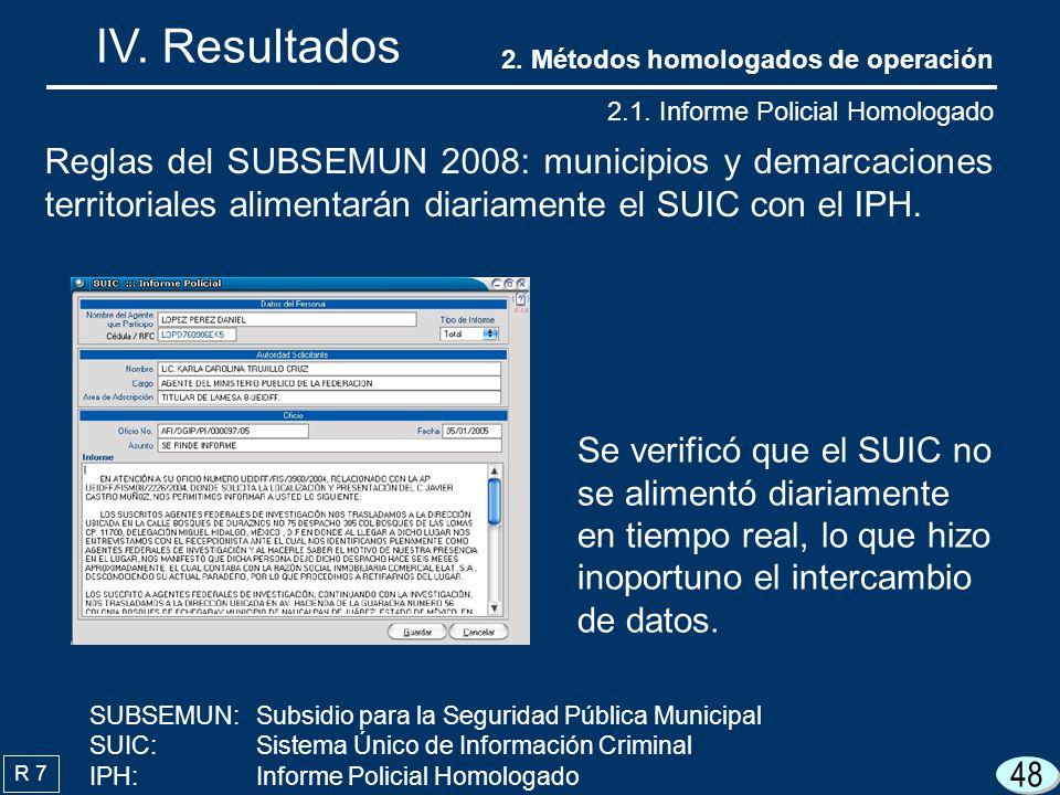 48 IV. Resultados R 7 Se verificó que el SUIC no se alimentó diariamente en tiempo real, lo que hizo inoportuno el intercambio de datos. Reglas del SU