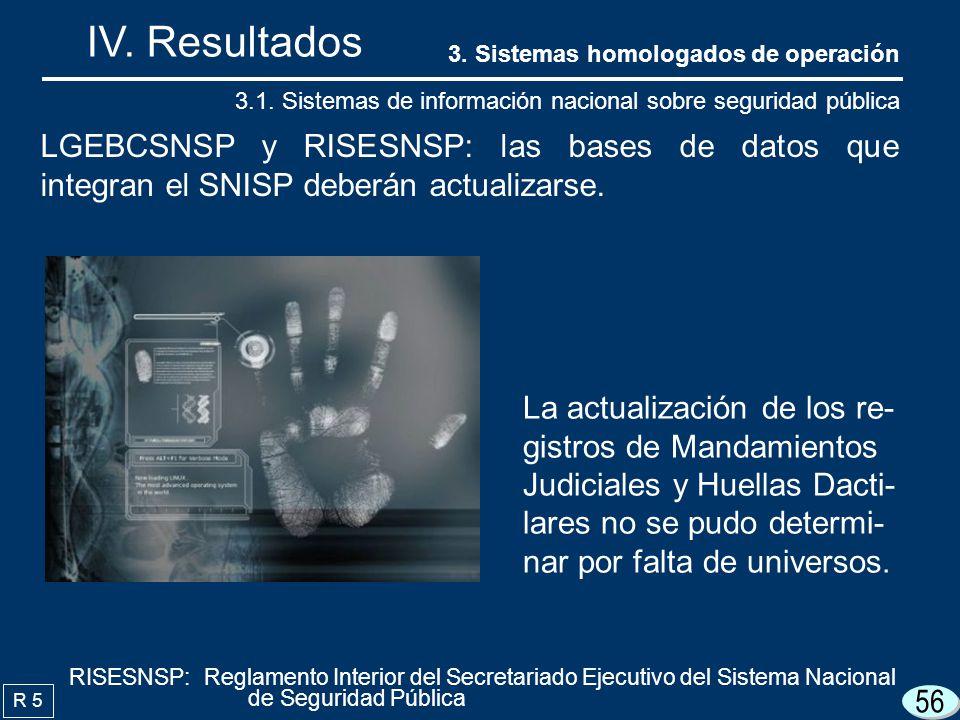 56 IV. Resultados R 5 LGEBCSNSP y RISESNSP: las bases de datos que integran el SNISP deberán actualizarse. 3.1. Sistemas de información nacional sobre