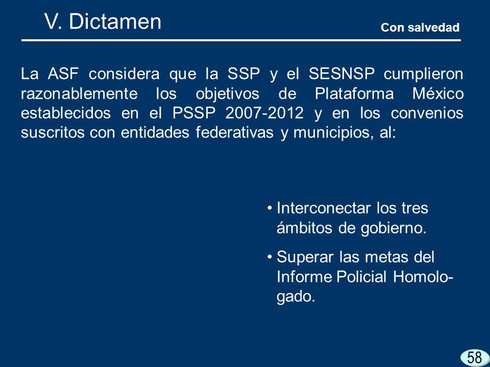 58 V. Dictamen La ASF considera que la SSP y el SESNSP cumplieron razonablemente los objetivos de Plataforma México establecidos en el PSSP 2007-2012