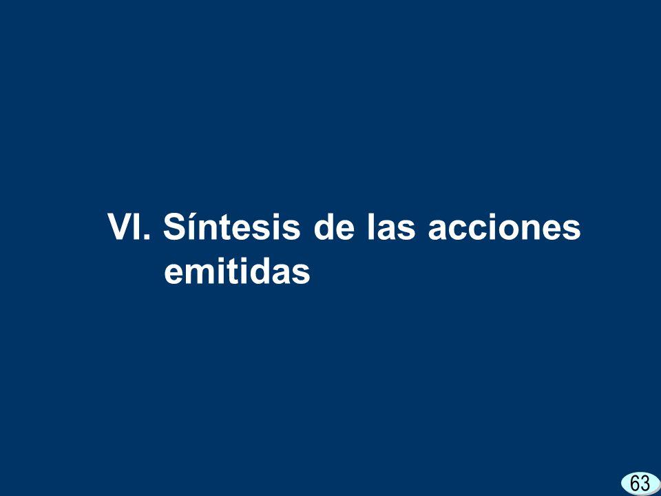 63 VI. Síntesis de las acciones emitidas