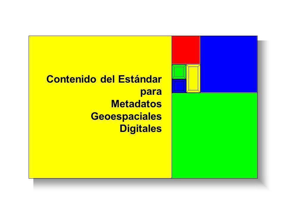 Contenido del Estándar para Metadatos Geoespaciales Digitales Identificación Calidad de la Información Organización de los Datos Espaciales Entidad y Atributo Referencia de los Metadatos Obligatorios Leyendas 45 2 67 31 Distribución Metadato Obligatorios si son Aplicables Referencia Espacial