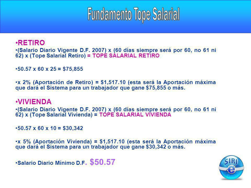 RETIRO (Salario Diario Vigente D.F. 2007) x (60 días siempre será por 60, no 61 ni 62) x (Tope Salarial Retiro) = TOPE SALARIAL RETIRO 50.57 x 60 x 25