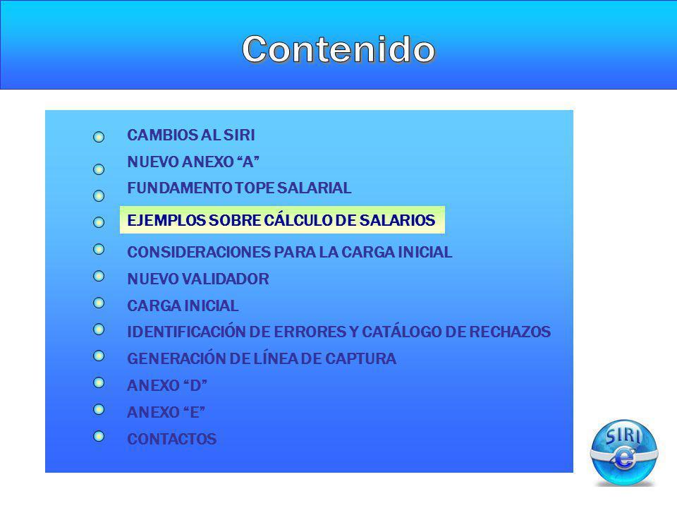 EJEMPLOS SOBRE CÁLCULO DE SALARIOS NUEVO ANEXO A CAMBIOS AL SIRI CONSIDERACIONES PARA LA CARGA INICIAL NUEVO VALIDADOR CARGA INICIAL GENERACIÓN DE LÍN