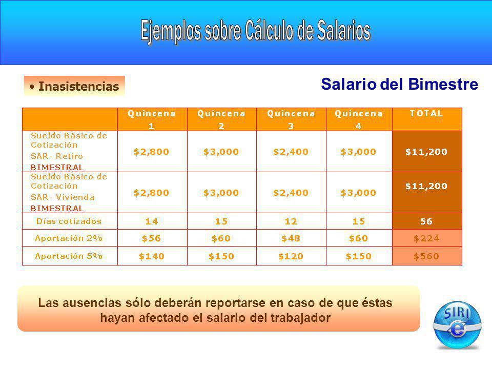 CARGA INICIAL Inasistencias Las ausencias sólo deberán reportarse en caso de que éstas hayan afectado el salario del trabajador Salario del Bimestre