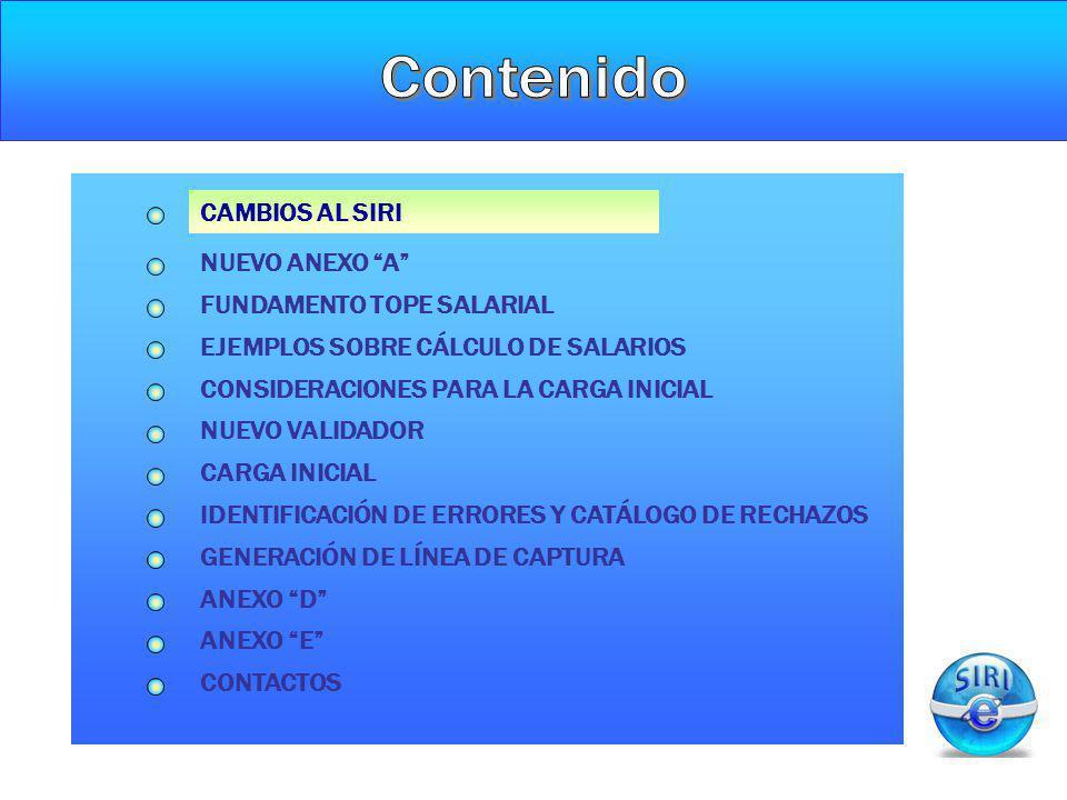 IDENTIFICACION DE ERRORES Y CATÁLOGO DE RECHAZOS CARGA INICIAL FUNDAMENTO TOPE SALARIAL CAMBIOS AL SIRI NUEVO ANEXO A CONSIDERACIONES PARA LA CARGA IN