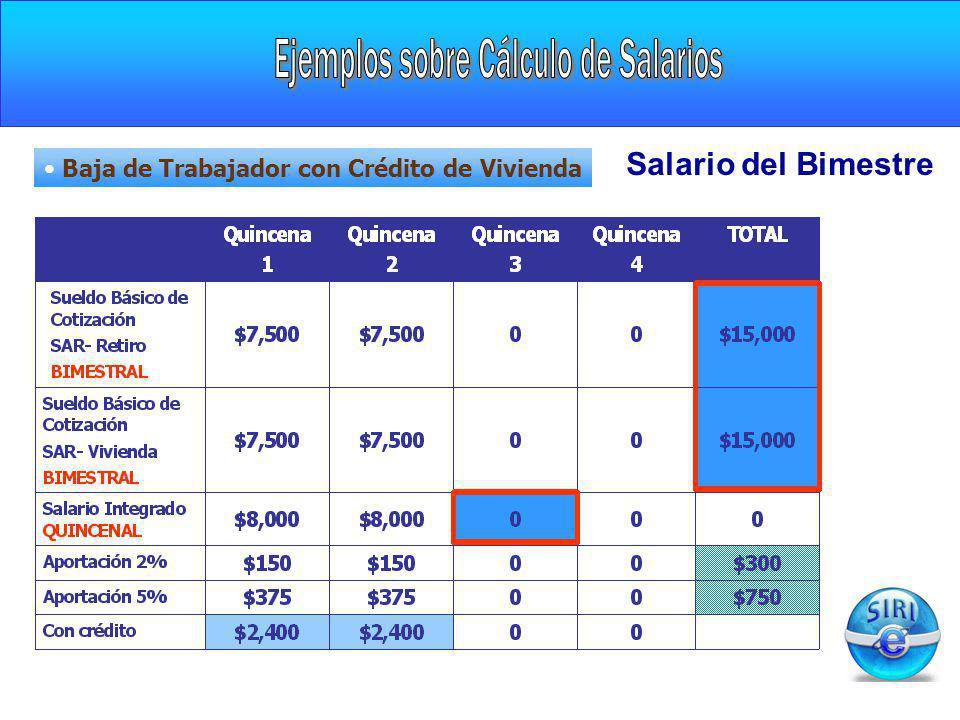 Salario del Bimestre Baja de Trabajador con Crédito de Vivienda