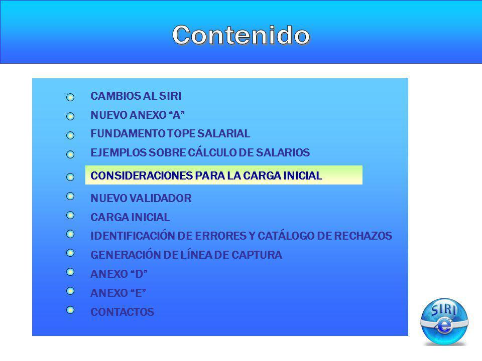 CONSIDERACIONES PARA LA CARGA INICIAL NUEVO ANEXO A CAMBIOS AL SIRI FUNDAMENTO TOPE SALARIAL NUEVO VALIDADOR CARGA INICIAL GENERACIÓN DE LÍNEA DE CAPT